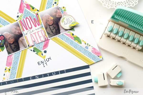 Challenge yourself to use only patterned paper for your next layout! @evapizarrov used the new My Bright Life collection from @pebblesinc to create this lovely layout. #pebblesinc #madewithpebbles
