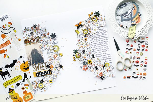 Use the new #SpookyBoo collection by @pebblesinc to create a Fall Layout like this one from @evapizarrov #pebblesinc #madewithpebbles