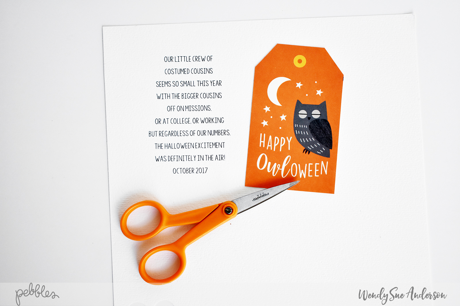 """Happy Halloween layout by Wendy Sue Anderson featuring the """"Spooky Boo!"""" Collection by @PebblesInc."""