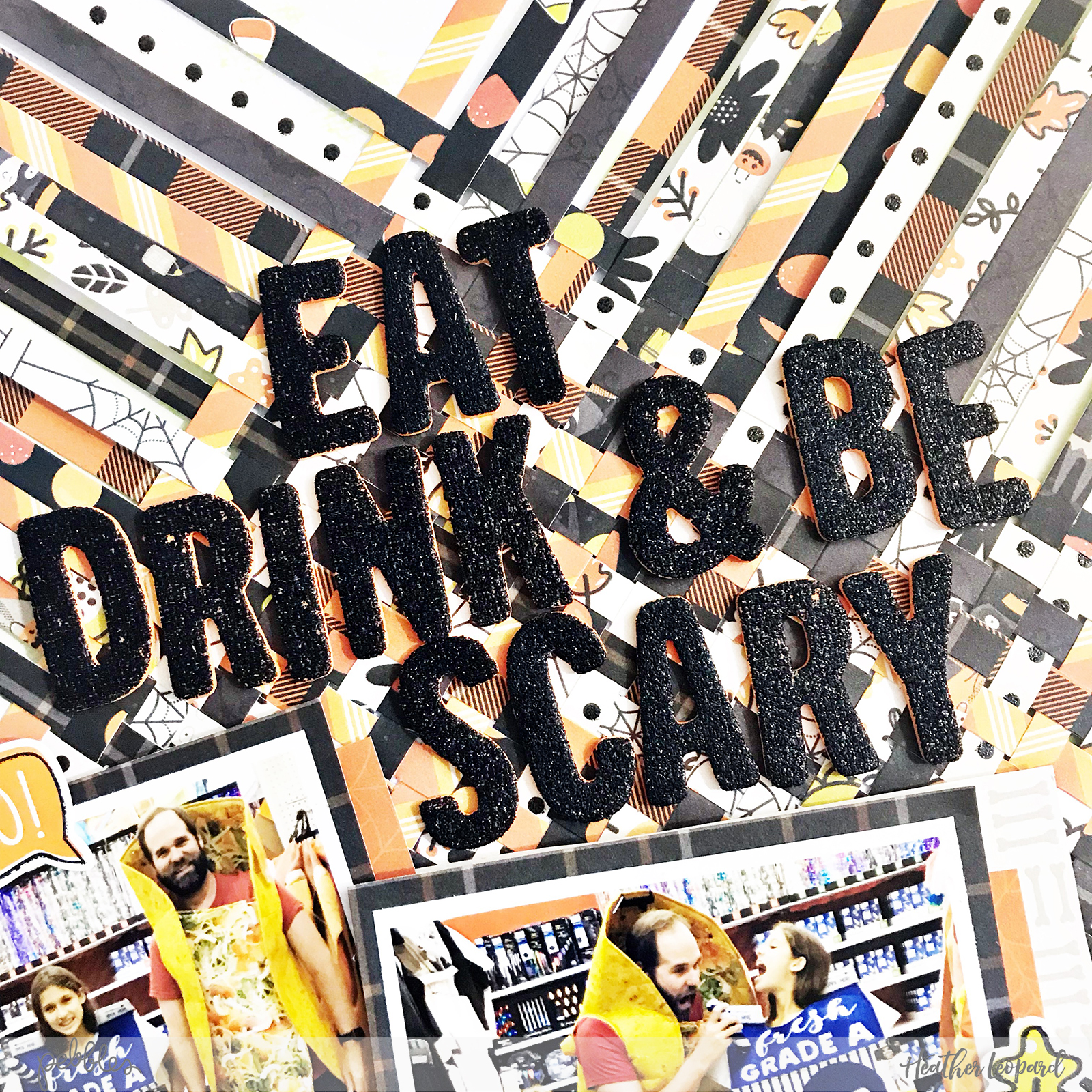 Eat, Drink & Be Scary Halloween Scrapbooking Layout by @heatherleopard using @pebblesinc #spookyboo collection #scrapbooking #scrapbook #halloween #boo