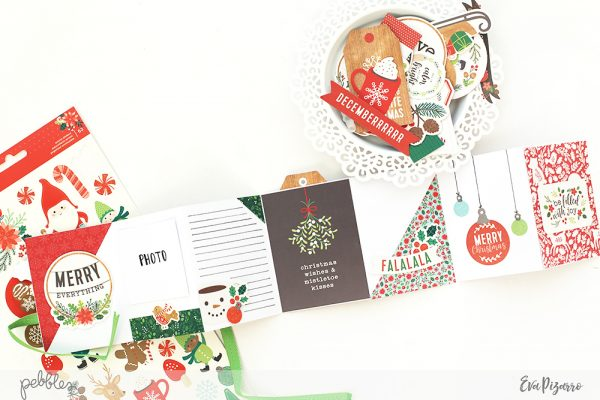 Create a quick accordion Christmas mini album with this tutorial from @evapizarrov using the new #Warmandcozy line from @pebblesinc