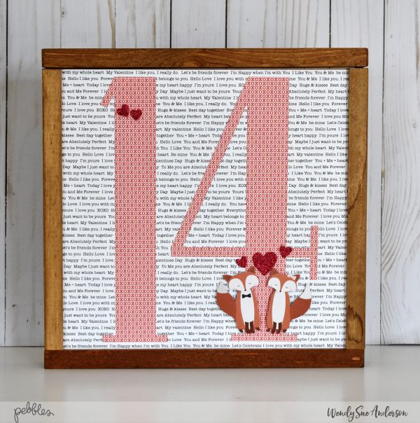 "Quick and Easy Valentine's Day frame by Wendy Sue Anderson for @PebblesInc. featuring the ""Loves Me"" collection"