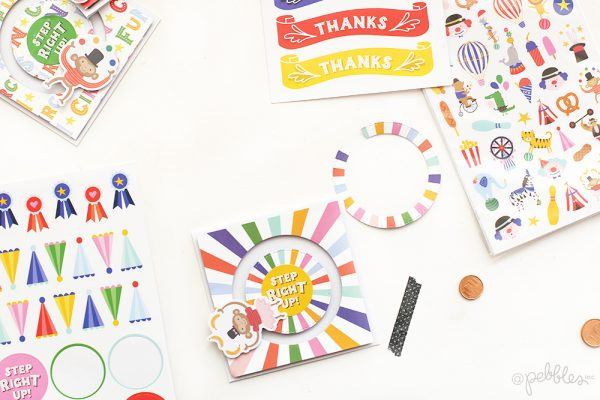 Create a Spinner invite for your next party following this tutorial from @evapizarrov using the new @pebblesinc collection Big Top Dreams