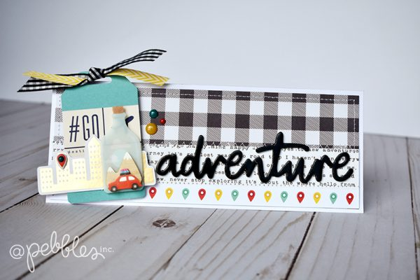"quick and easy odd-shaped cards by Wendy Sue Anderson for @PebblesInc featuring the ""Chasing Adventures"" collection"