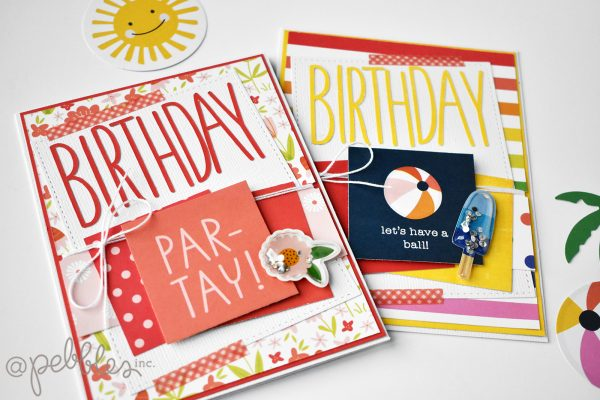 "Summer Birthday Card Set by Wendy Sue Anderson featuring the ""Summertime"" collection by @PebblesInc."