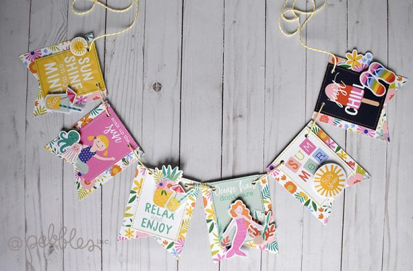 "Quick and Easy Summer Banner by Wendy Sue Anderson with the ""Oh Summertime"" collection by @PebblesInc."