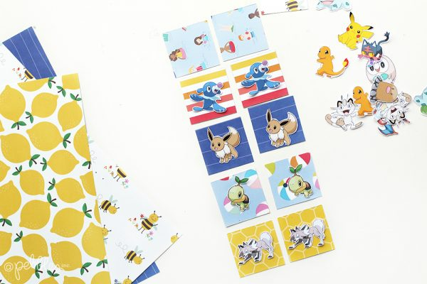 Create a quick and fun memory game using your kid's favorite characters and lovely papers from the Oh, Summertime line from @pebblesinc #madewithpebbles #pebblesinc