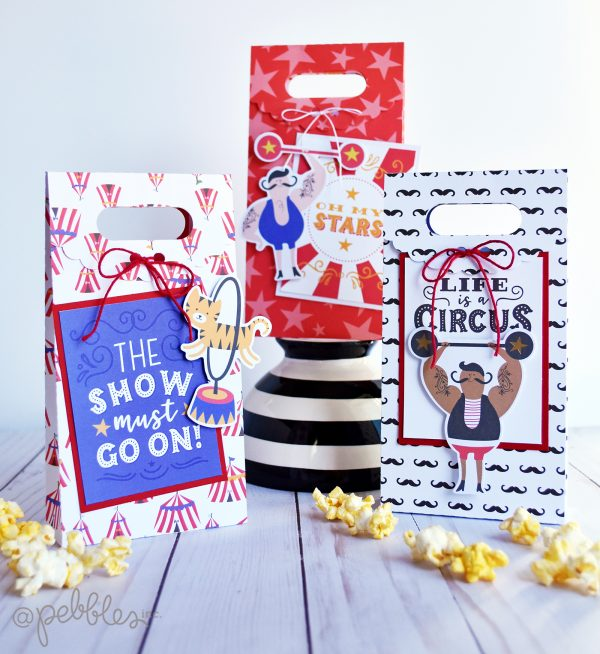 "3 product challenge: circus themed treat bags by Wendy Sue Anderson featuring the ""Big Top Dreams"" collection by @PebblesInc."