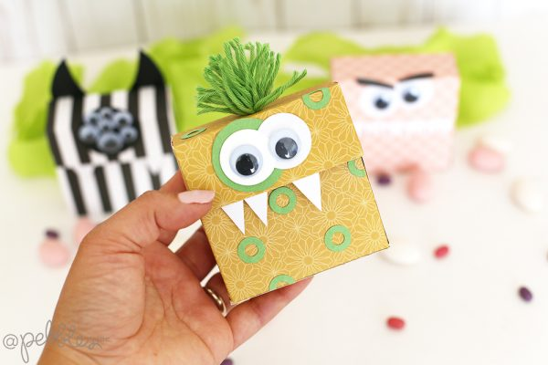 "Create some spooky Monster Treat Boxes using the ""This is Family"" collection by @pebblesinc. p.c: @evapizarrov"