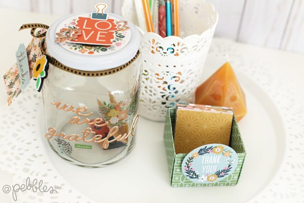 "Creating a Grateful Jar it is easy with this tutorial from @evapizarrov using the ""This is Family"" line from @pebblesinc #madewithpebbles #pebblesinc"