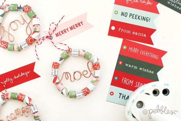 Create some fun and easy mini paper wreaths with this tutorial from @evapizarrov using the new Merry Little Christmas line from @pebblesinc
