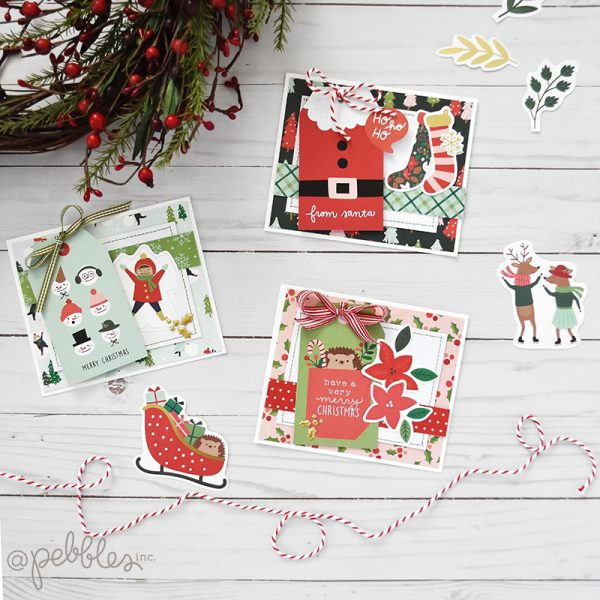 "Easy Holiday Cards by Wendy Sue Anderson featuring the ""Merry Little Christmas"" Collection by @PebblesInc."
