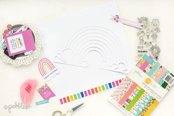 Crate a rainbow layout with the fun and colorful Sun & Fun collection from @pebblesinc. pc:@evapizarrov