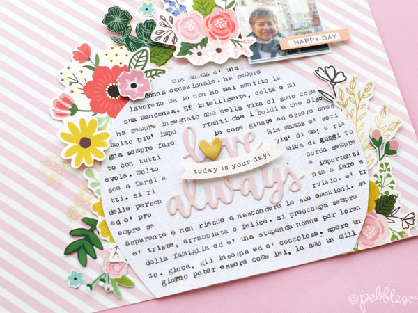 Celebrate Mom with this floral layout made by @evapizarrov using @pebblesinc new line #lovelymoments #pebblesinc