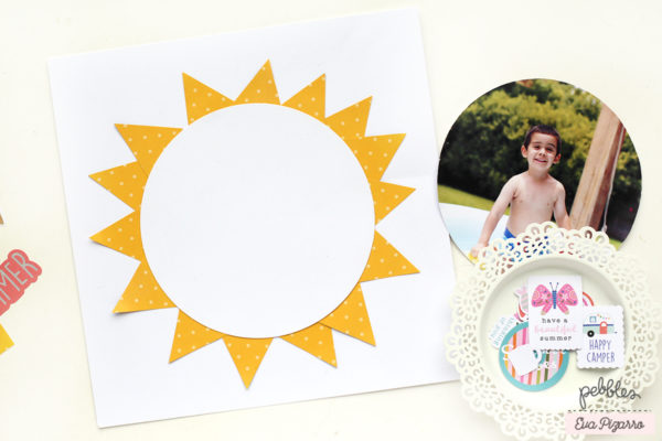 create a fun and easy summer layout with this tutorial from @evapizarrov using @pebblesinc new line Sun & Fun
