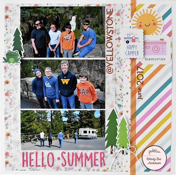 Hello Summer layout by Wendy Sue Anderson for @PebblesInc.
